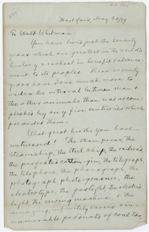 Carta de Mark Twain a Whitman